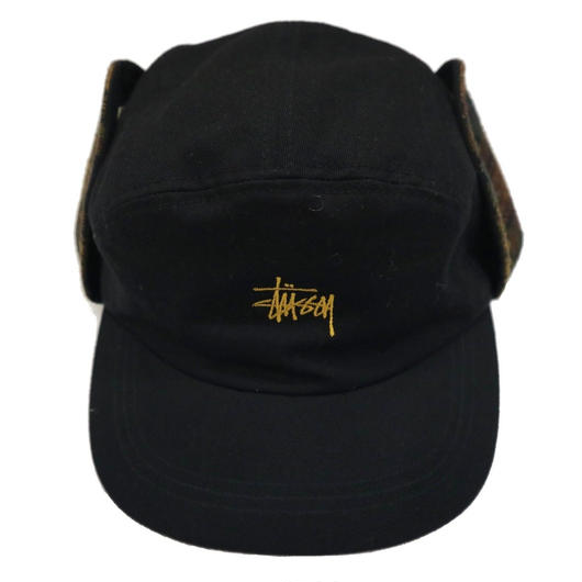 90's OLD STUSSY 耳当て付き ワークキャップ BLACK×CHECK