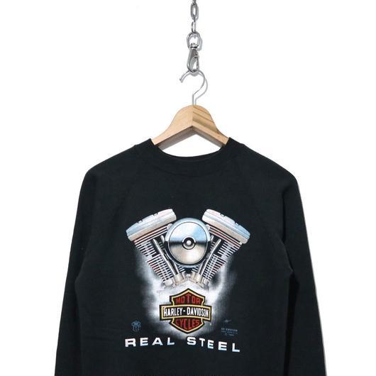 "80's HARLEY DAVIDSON 3D プリント スウェット BLACK ""REAL STEEL"""