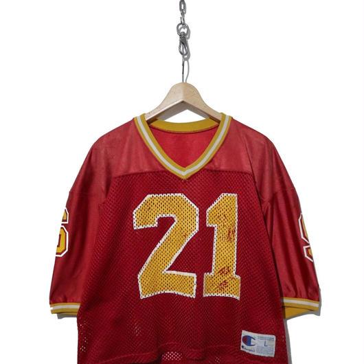 """""""レディース"""" 90's CHAMPION メッシュ ナンバリング フットボール Tシャツ RED"""