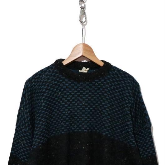 80's ジャガードニットセーター BLACK×BLUE  ITALY製