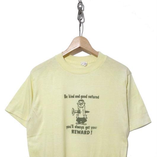 """70's 染み込みプリントTシャツ """"モンスター"""" LemonYellow"""