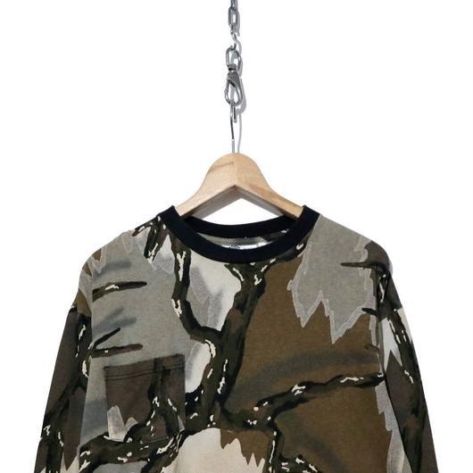 90's PREDATOR CAMOUFLAGE ポケット付 長袖Tシャツ USA製