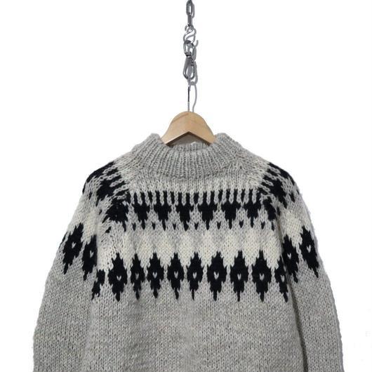 70's~80's ノルディックセーター Hand-Knit ウール100% Greece製