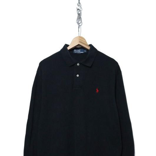 90's  Polo Ralph Lauren 鹿の子 長袖ポロシャツ BLACK Lサイズ