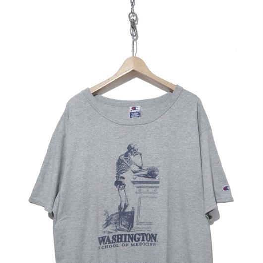 """90's CHAMPION プリント Tシャツ """"SKULL×BONE"""" 杢グレー"""