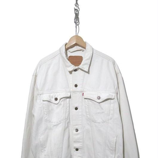 """80's Levi's 75525 Denim Tracker Jacket """"WHITE"""" Lサイズ"""