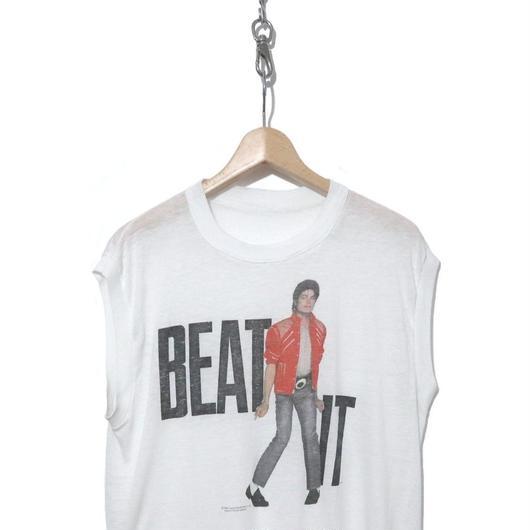 """80's コピーライト入り Michael Jackson ノースリーブ Tシャツ """"BEAT IT"""""""