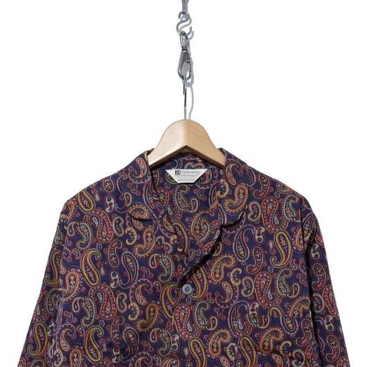 70's Dead Stock パジャマシャツ ペイズリー柄 NAVY