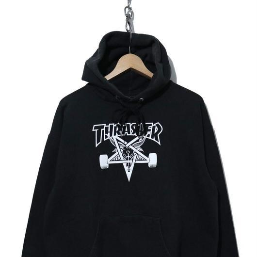 00's THRASHER プリント スウェットパーカー BLACK Mサイズ