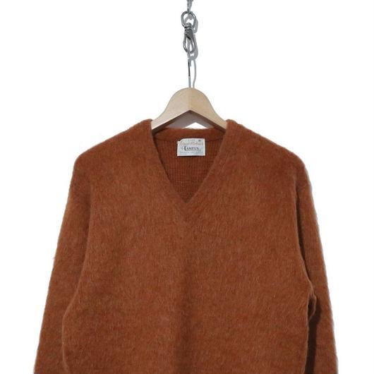 60's CAMPUS モヘア Vネックセーター ORANGE-BROWN USA製