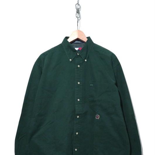 90's TOMMY HILFIGER コットン 無地 BDシャツ Mサイズ