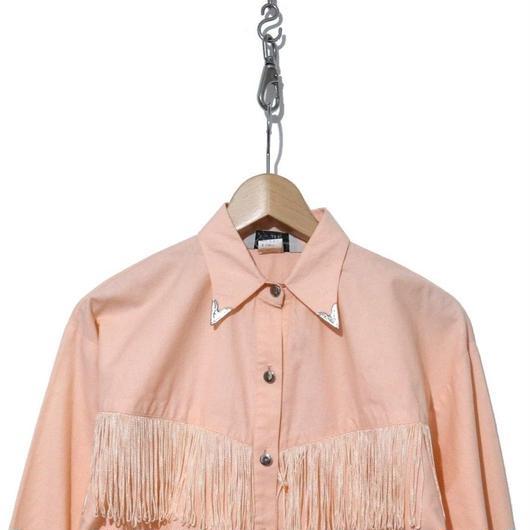 70's フリンジ付き コットン ウエスタンシャツ PINK USA製