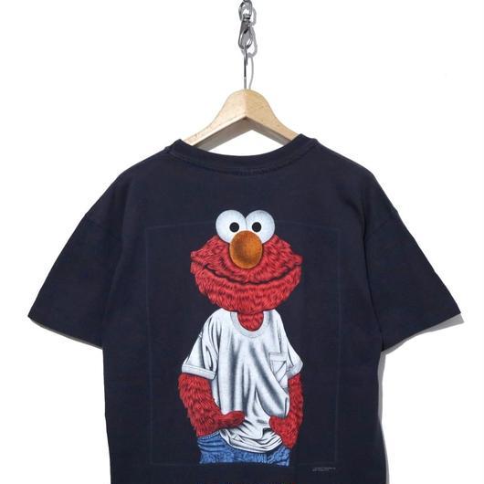 "90's  エルモ 両面プリントTシャツ ""ELMO WEAR"" Navy"
