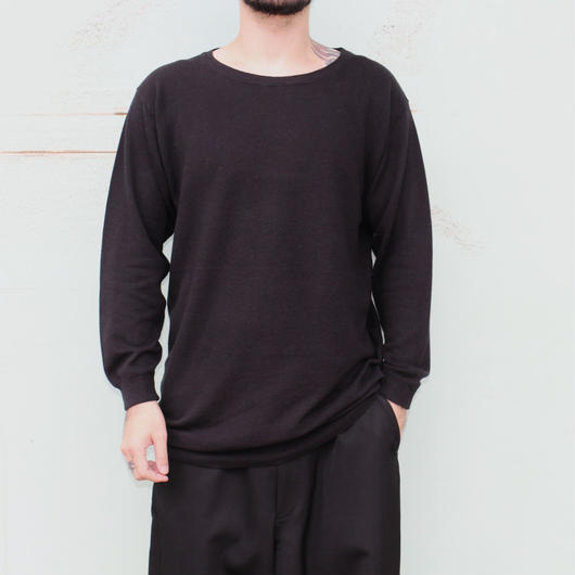 "the Sakaki / the Bang / Long sleeve Uneck ""編み物""(Amimono/ Knit)--BLACK--"