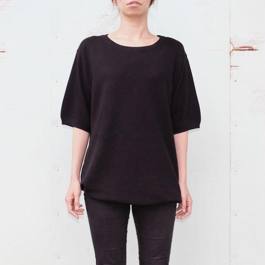 "the Sakaki / the Bang / Short sleeve Uneck ""編み物""(Amimono/ Knit)--BLACK--"
