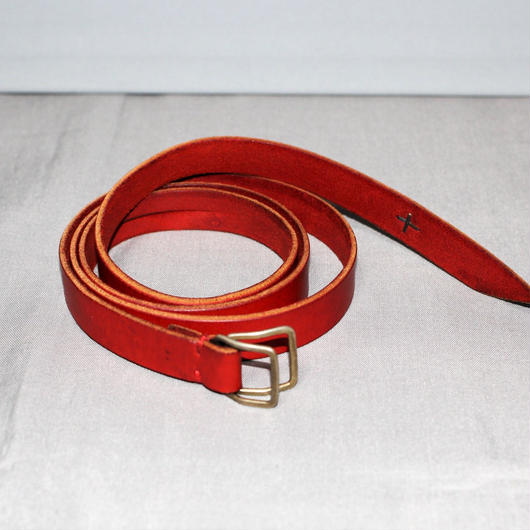 M.A+ by Maurizio amadei / Double square buckle slim leather belt