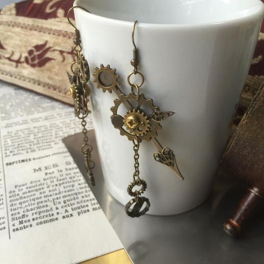 150418作。時計の針と歯車のピアス