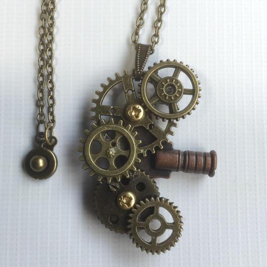 【NEW】150529作。ダークカラーの巻きネジと歯車で作ったアシンメトリペンダント