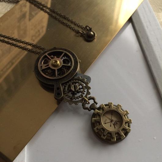 歯車透ける二つの時計を繋ぐペンダント/スチームパンク