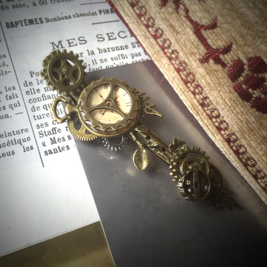 150506作。懐中時計と小枝歯車のヘアクリップno.2