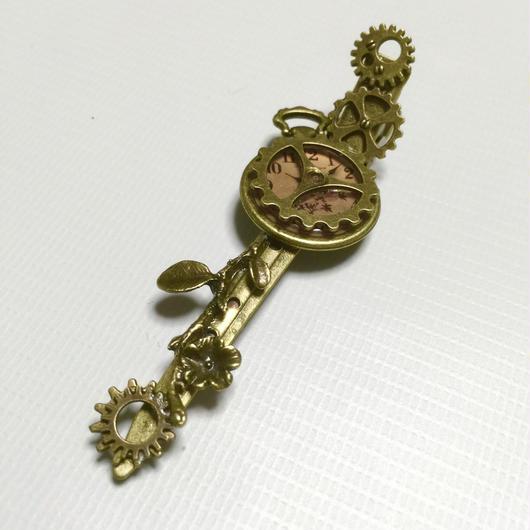 140313作。懐中時計と小枝歯車のヘアクリップ