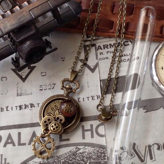 141101再々入荷160716 露わな懐中時計にボタンとタイガーアイと歯車のペンダント