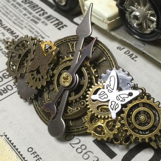 151231 第四弾/時計を中心に歯車蝶々のヘアバレッタ