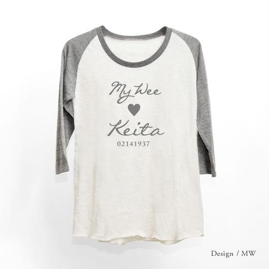 レディース トライブレンド7分袖ラグランTシャツ/ オートミール × ヘザーブラック(袖)