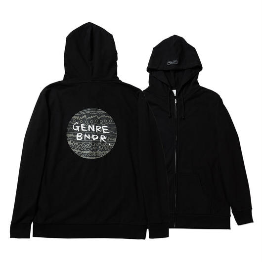HINOMARU TRIBE Back Print / 7.4oz BLK / Zip-Up - BLK27043GY