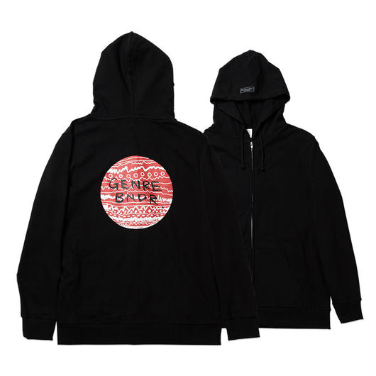 HINOMARU TRIBE Back Print / 7.4oz BLK / Zip-Up - BLK27043RD
