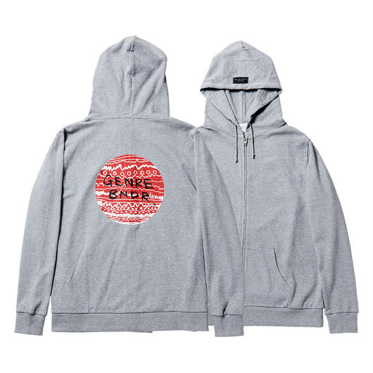 HINOMARU TRIBE Back Print / 7.4oz GRY / Zip-Up - GRY27043RD