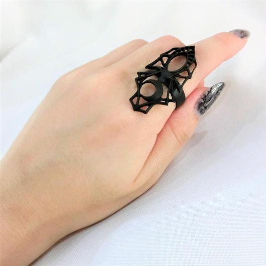 RE-0537 Black SPIDER RING<BLK>