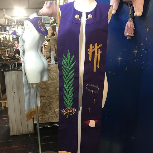 SCS-3717 リバーシブル刺繍司祭ストール<PUR/WHT>