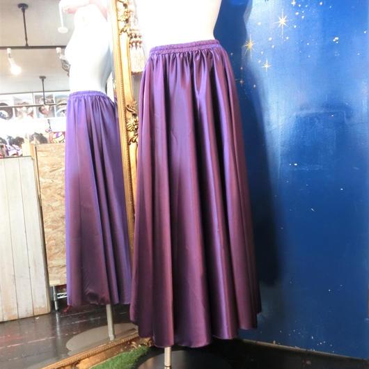 ELF-D16 カラーサテンロングスカート<PUR>