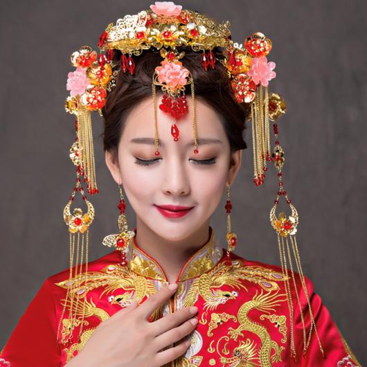 V8S-9592 中国花嫁頭飾りセット<GLD/RED>