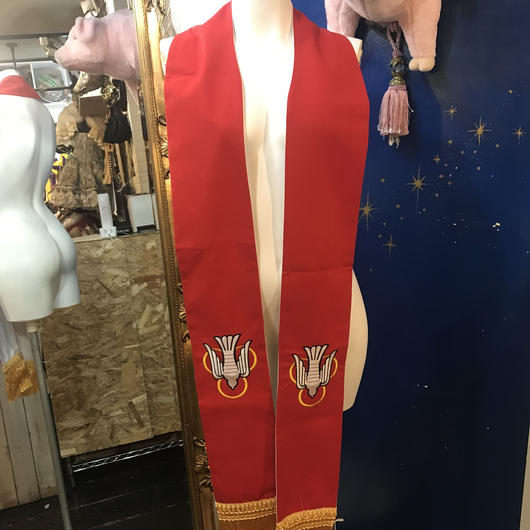 SCS-30411 リバーシブルクロスとハト牧師ストール<RED/WHT>