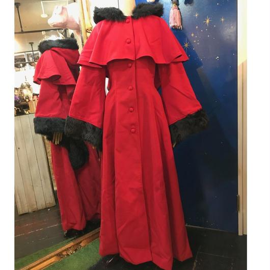 COS-CT02501 ウィッチスリーブファーウールコート 〈RED/S〉