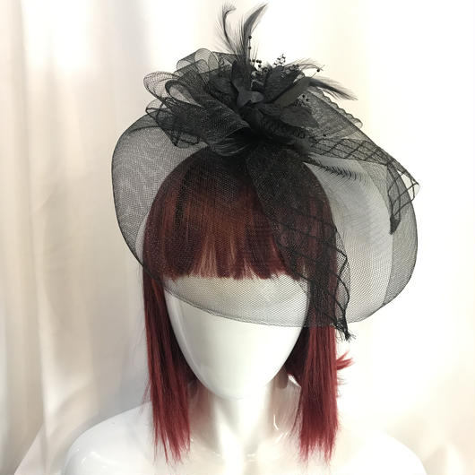 BI-043471 チュールフラワーヘッドドレス<BLK>
