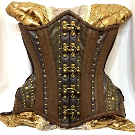 RE-4925 Steampunk Gears Underbust corset<BRN/20inch>