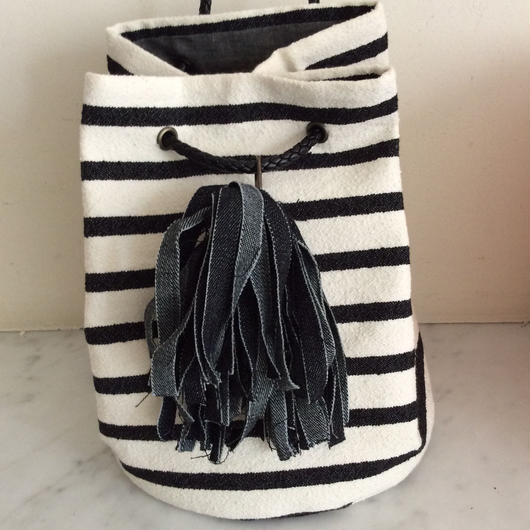 mokatococoさま専用出品 タッセル巾着バッグ ブラックボーダー