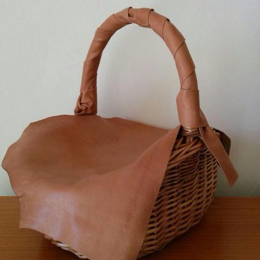 ピクニックかごバッグ Monica ライトブラウン アウトレット