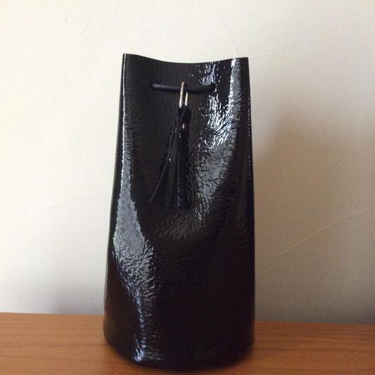 レザー巾着バッグS  ブラックエナメル