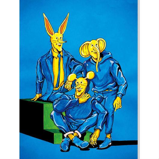 黄色い3人ポストカード