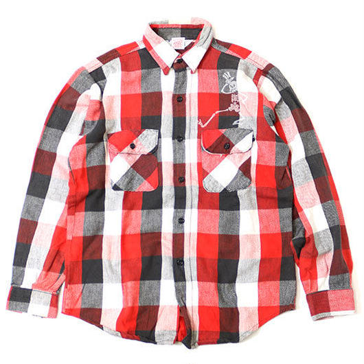 PRINTED USED FLANNEL SHIRT - RED