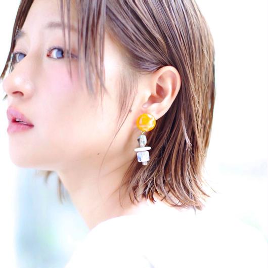 Big  silhouette pierce/earring ORANGE