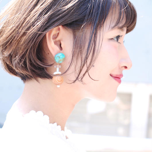 Big  silhouette pierce/earring  TURQUISE