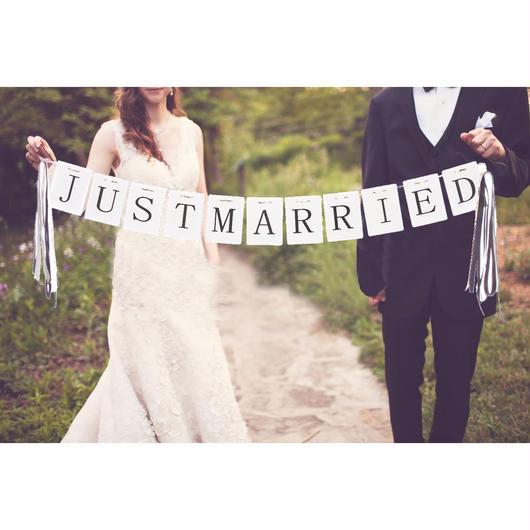 (ウエディングランド)WEDDINGLAND ガーランド JUST MARRIED リボン 2.3