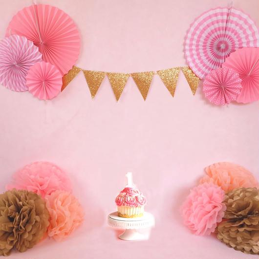 ハッピーバースデーセット 1歳2歳3歳 飾り 直輸入 ファーストバースデー (ピンク)