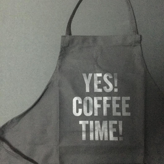 "⭕️[新発売]]DRESSSEN    ADULT APRON  DB(BLK)7 ""YES! COFFEE TIME""BLACK COLOR"