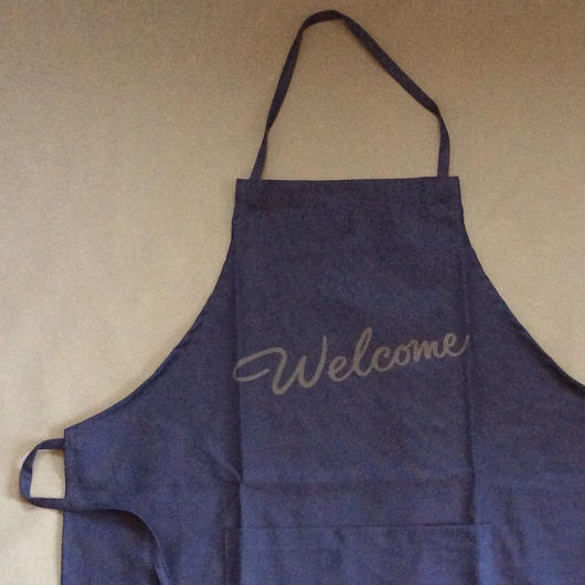 "DRESSSEN DR(NVY)3  APRON "" WELCOME""NAVY COLOR"